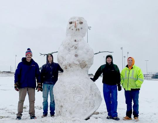 .Jared Payne, Shane Wolfe, Callan Wolfe and James Sommerville built this snowman, estimated to be 10 feet tall, at the sports park on FM 580 West.