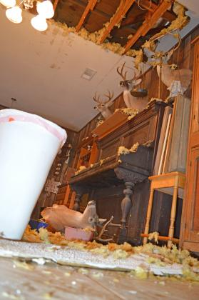 A historic home owned by C.M. Crawford saw flood damage after a water leak during sub-freezing temperatures.