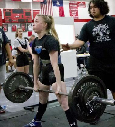 As a junior, Alyssa Ayers posted the strongest pound-for-pound lifts in Lady Badger history. Her best lifts in the 123 weight class were 315 in squat, 205 in bench press and 330 in deadlift for an 850-pound total. She won her home meet with a 205-pound lead over the runner-up and won region, but the state meet was canceled. JEFF LOWE | DISPATCH RECORD