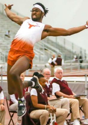 Steffin McCarter, a University of Texas senior long jumper and LHS grad, hoped to qualify for the 2020 Tokyo Olympics, but they are postponed until July 23, 2021-Aug. 8, 2021. UNIVERSITY OF TEXAS ATHLETIC DEPARTMENT | COURTESY PHOTO